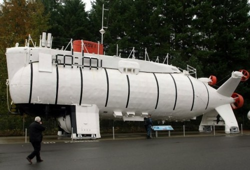 MEEGAN M. REID / KITSAP SUN The Trieste at the Naval Undersea Museum in Keyport on Saturday.