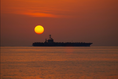 U.S. 5TH FLEET AREA OF RESPONSIBILITY (Jan. 5, 2012) The Nimitz-class aircraft carrier USS John C. Stennis (CVN 74) operates in the Arabian Sea during sunset.