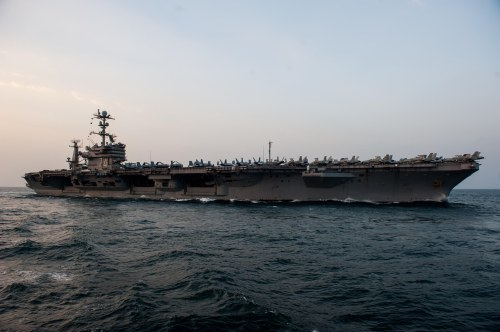U.S. 5TH FLEET AREA OF RESPONSIBILITY (Jan. 8, 2012) The Nimitz-class aircraft carrier USS John C. Stennis (CVN 74) transits the Arabian Sea before making its approach alongside the Military Sealift Command fast combat support ship USNS Bridge (T-AOE 10) for a replenishment-at-sea.