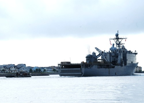 he amphibious dock landing ship USS Fort McHenry (LSD 43) departs home port, Joint Expeditionary Base Little Creek-Fort Story
