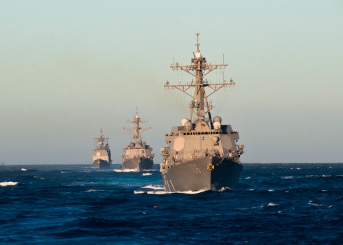 PACIFIC OCEAN (Oct. 25, 2012) The Arleigh Burke-class destroyers USS Stockdale (DDG 106), USS Shoup (DDG 86), and USS John Paul Jones (DDG 53) underway in formation