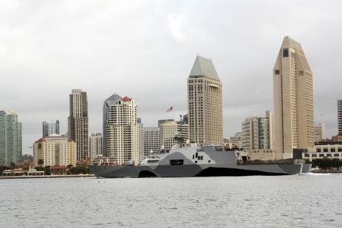 SAN DIEGO (Feb. 21, 2013) The littoral combat ship USS Freedom (LCS 1) departs San Diego on its way to conduct sea trials following a month-long dry dock availability. Freedom, the lead ship of the Freedom variant of LCS, is expected to deploy to southeast Asia this spring.
