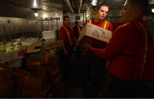 Sailors transfer produce into storerooms aboard the aircraft carrier USS John C. Stennis (CVN 74) during a replenishment-at-sea. John C. Stennis is deployed to the U.S. 5th Fleet