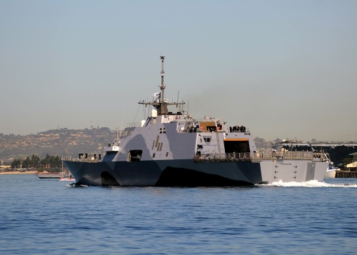 SAN DIEGO (March 1, 2013) The littoral combat ship USS Freedom (LCS 1) departs San Diego Bay for a deployment to the Asia-Pacific region.