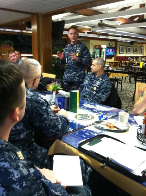 Master Chief Petty Officer of the Navy (MCPON) Michael D. Stevens speaks to area Command Master Chiefs