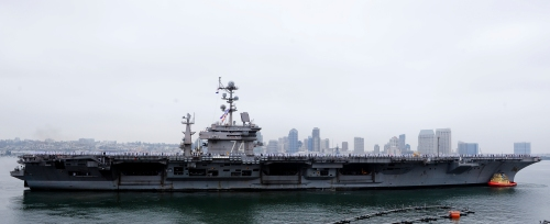 SAN DIEGO (April 29, 2013) The aircraft carrier USS John C. Stennis (CVN 74) pulls into Naval Air Station North Island. The John C. Stennis Carrier Strike Group is returning from an eight-month deployment to the U.S. 5th and 7th Fleet