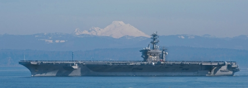 During the 30 March Tour we had the opportunity of observing the USS Nimitz transiting out of Puget Sound on deployment.