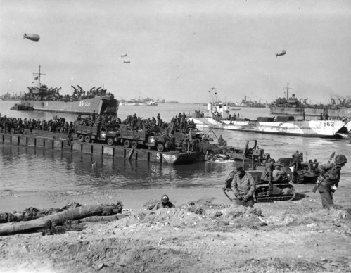 Seabees of the 111th Naval Construction Battalion Unloading a Rhino Ferry on a Normandy Beach June 6, 1944