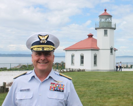 USCG Rear Admiral Taylor at Alki Point Light by