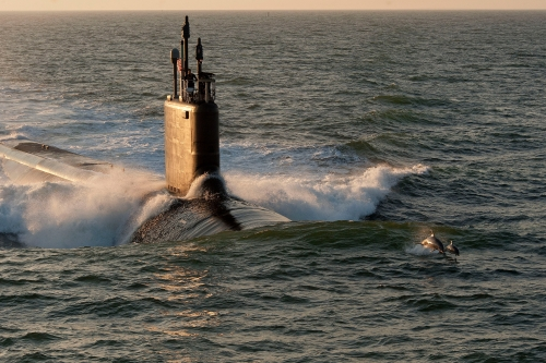 WASHINGTON (June 7, 2013) The Virginia-class attack submarine Pre-Commissioning Unit (PCU) Minnesota (SSN 783) is shown during sea trials. The last of the Block II Virginia-class submarines was delivered to the Navy June 6, 2013, nearly 11 months ahead of schedule. (U.S. Navy photo courtesy of Huntington Ingalls Industries/Released)