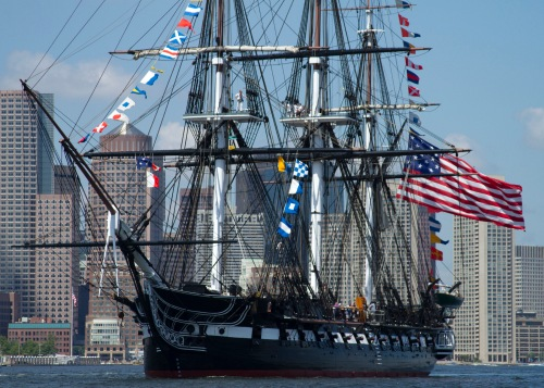 BOSTON (July 4, 2013) USS Constitution gets underway to celebrate America's 237th birthday for the ship's annual 4th of July turnaround cruise. More than 500 guests went underway with Old Ironsides for a three-hour tour of Boston Harbor in celebration of Independence Day. (U.S. Navy photo by Sonar Technician (Submarine) 2nd Class Thomas Rooney