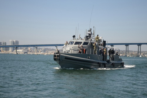 SAN DIEGO (Aug. 11, 2013) A 65PB1101 coastal command patrol boat arrives in San Diego. The patrol boat has increased capability over existing Navy Expeditionary Combat Command craft, including 24-hour mission capability, ergonomic equipment design, both remote and crew-served weapon systems and a robust communications suite.