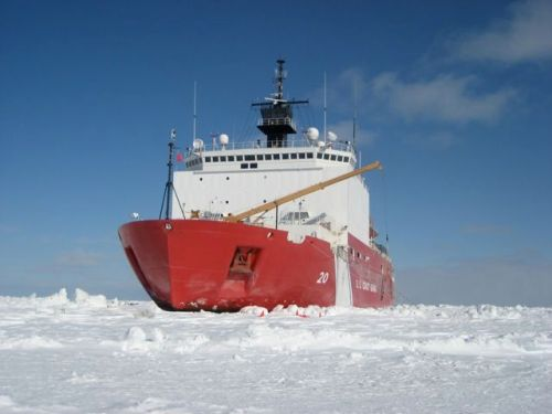 The Healy in the ice pack of the Bering Sea, March 2008.
