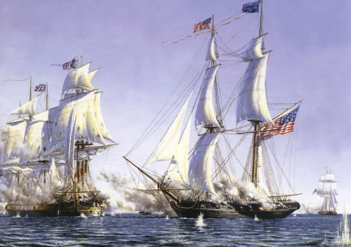 The Niagara sails before the entangled H.M.S. Detroit and H.M.S. Queen Charlotte.