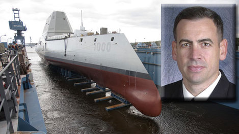The Zumwalt-class guided-missile destroyer DDG 1000 is floated out of dry dock at the General Dynamics Bath Iron Works shipyard, Oct. 28, 2013. It will be commanded by Capt. James A. Kirk.
