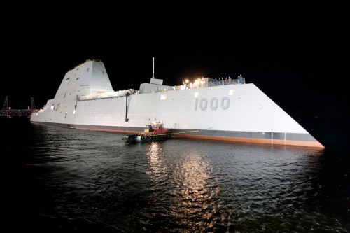 BATH, Maine (Oct. 28, 2013) The Zumwalt-class guided-missile destroyer DDG 1000 is floated out of dry dock at the General Dynamics Bath Iron Works shipyard.