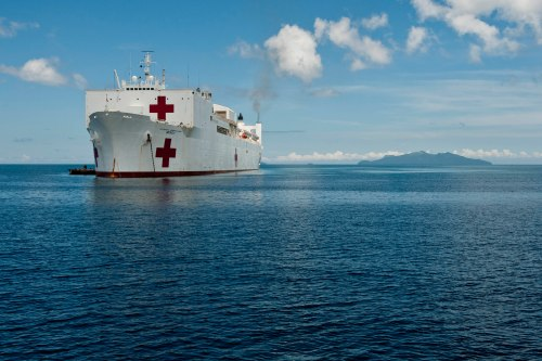 In this file photo, USNS Mercy (T-AH 19) sits off the coast of Samar, Philippines, during U.S. Pacific Fleet's annual disaster preparedness response mission, Pacific Partnership, in July 2012.