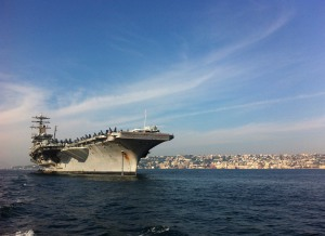 USS Nimitz anchored off Naples