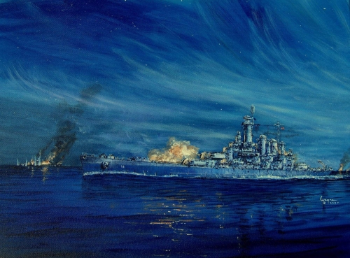 "A painting by the artist Wayne Scarpaci entitled ""Night Action"".  The drawing depicts the Washington (BB-56) in action against the Kirishima at the 4th battle of Savo Island, 15 Nov 1942."