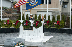 BREMERTON, Wash. (Dec. 14, 2013) Seven wreaths are displayed in front of the Tomb of the Unknown Soldier at Ivy Green Cemetery as part of a National Wreaths Across America Day ceremony