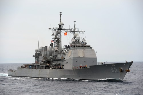 SOUTH CHINA SEA (Oct. 24, 2013) The guided-missile cruiser USS Cowpens (CG 63)