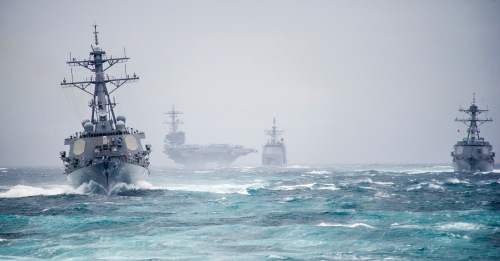 ATLANTIC OCEAN (Dec. 10, 2013) Ships from the George H.W. Bush Carrier Strike Group