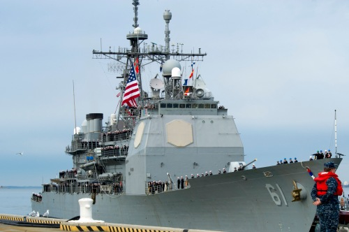 NORFOLK (Jan. 5, 2014) The guided-missile cruiser USS Monterey (CG 61) returns to Naval Station Norfolk.