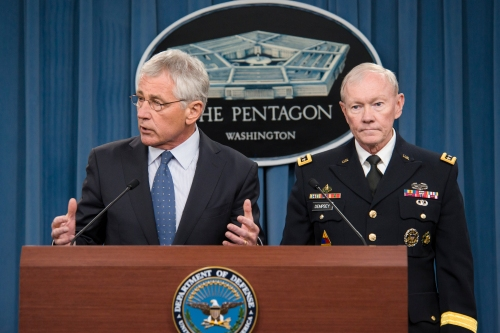 Defense Secretary Chuck Hagel and Army Gen. Martin E. Dempsey, chairman of the Joint Chiefs of Staff, brief reporters on the fiscal year 2015 defense budget proposal at the Pentagon, Feb. 24, 2014