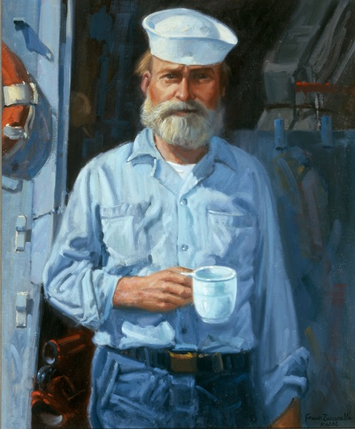 """WASHINGTON (Feb. 7, 2014) The oil painting """"Old Salt of the Sixth Fleet,"""" by Frank Zuccarelli, is part of the U.S. Navy Art Collection that was missing and recovered by Navy Art Collection head curator Gale Munro. Munro has since recovered other misappropriated works of art."""