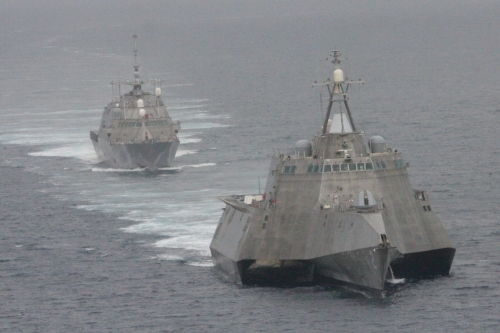 SAN DIEGO (May 2, 2012) The first of class littoral combat ships USS Freedom (LCS 1), rear, and USS Independence (LCS 2) maneuver together during an exercise off the coast of Southern California.