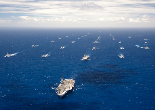 2012) Ships and submarines participating in the Rim of the Pacific (RIMPAC) 2012 exercise are underway in close formation during the Rim of the Pacific (RIMPAC) 2012 exercise. Twenty-two nations, more than 40 ships and submarines, more than 200 aircraft and 25,000 personnel are participating in the biennial RIMPAC exercise from June 29 to Aug. 3, in and around the Hawaiian Islands.