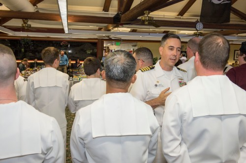 ILVERDALE, Wash. (June 30, 2014) – Capt. Thomas Zwolfer, commanding officer, Naval Base Kitsap, congratulates Sailors assigned to Naval Base Kitsap Galley on their accomplishment of winning the Captain Edward F. Ney Memorial Award for the second consecutive year.