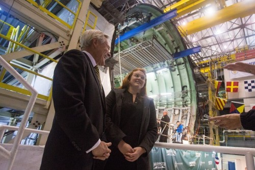 Navy Secretary Ray Mabus, and his daughter Elisabeth, stand before the bow module of PCU WASHINGTON (SSN 787) shortly after the Keel Laying Ceremony held November 22nd at Huntington Ingalls Industries, Newport News Shipbuilding in Virginia. The 25-year old sponsor was somewhat uncomfortable at the podium, explaining how it was a little odd to be standing in front of the crowd--usually she's listening to her father speak.