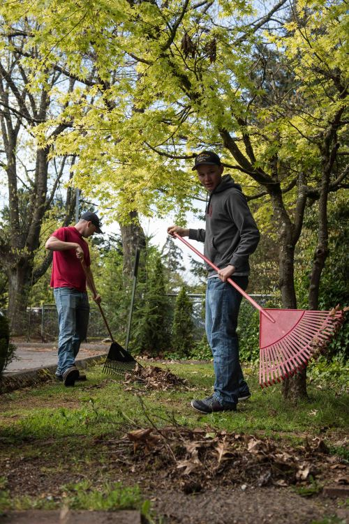 BREMERTON, Wash. (April 22, 2015) Machinist's Mates 3rd Class Noah Kizer and Richard Caillet, assigned to the ballistic missile submarine USS Nebraska (SSBN 739), participate in a base-wide Earth Day cleanup at Naval Base Kitsap-Bremerton.