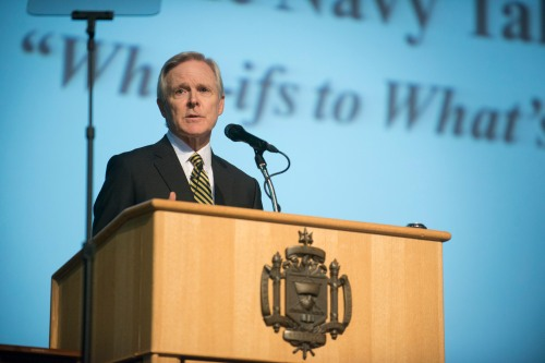 ANNAPOLIS, Md. (May 13, 2015) Secretary of the Navy (SECNAV) Ray Mabus announces the Department of the Navy Talent Management Initiatives at the U.S. Naval Academy.