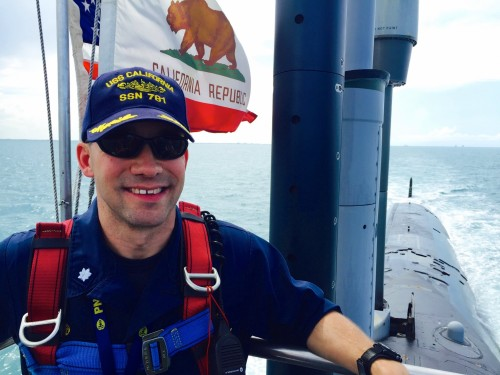 U.S. Navy Commander Eric Sager, captain of the USS California, on the bridge of the submarine off the coast of Florida