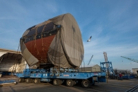 April 25, 2014 - A Washington (SSN 787) module is moved on a crawler transporter