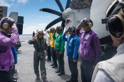 Commander Third Fleet visiting USS Stennis
