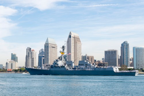 "SAN DIEGO (April 19, 2016) The guided-missile destroyer USS Spruance (DDG 111) departs Naval Base San Diego for a scheduled deployment to the western Pacific region as part of Commander, U.S. 3rd Fleet Pacific Surface Action Group (PAC SAG). Spruance, along with USS Decatur (DDG 73) and USS Momsen (DDG 92) and embarked ""Devil Fish"" and ""Warbirds"" detachments of Helicopter Maritime Strike Squadron (HSM) 49, will deploy as part of PAC SAG under Destroyer Squadron 31 (CDS-31)."