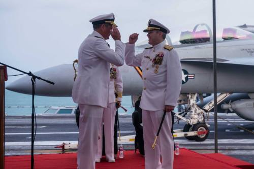 SINGAPORE (April 22, 2016) - Rear Adm. Marcus Hitchcock relieves Rear Adm. Ron Boxall as commander, Carrier Strike Group 3 during a change of command ceremony aboard USS John C. Stennis (CVN 74).