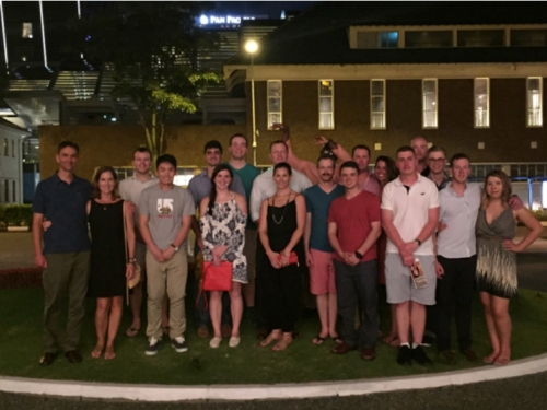 Members of the wardroom after a great dinner at the Raffles Hotel.