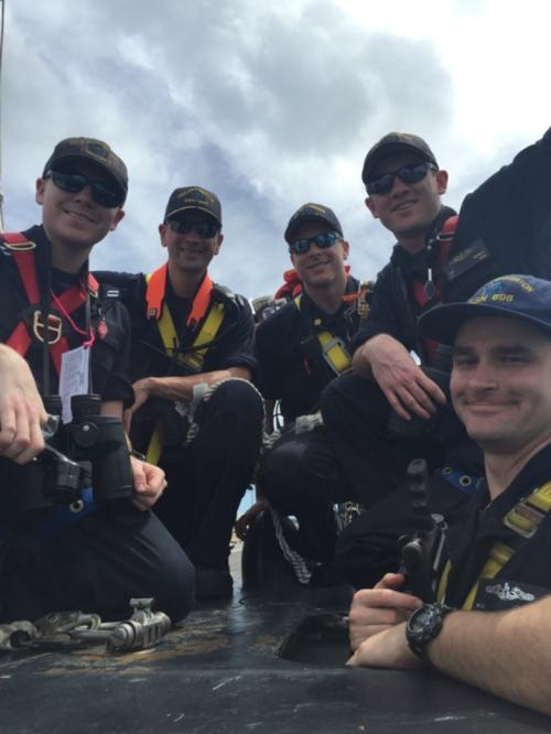 Bad Fish bridge team during our arrival in Apra Harbor, Guam – May 2016.