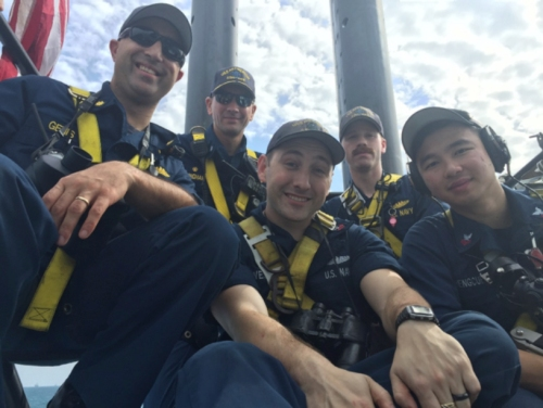 The bridge team navigating through the Strait of Singapore – February 2016.