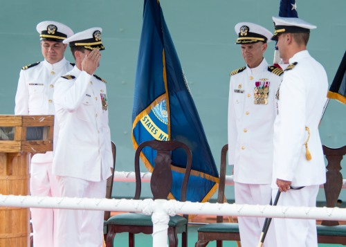 160805-N-LY160-269 JOINT BASE PEARL HARBOR-HICKAM, Hawaii (August 5, 2016) Cmdr. Travis W. Zettel, left, relieves Cmdr.Wesley P. Bringham, right, during the Los Angeles-class fast-attack submarine USS Bremerton (SSN 698) change of command ceremony on Joint Base Pearl Harbor-Hickam. (U.S. Navy photo by Mass Communication Specialist 2nd Class Michael H. Lee)
