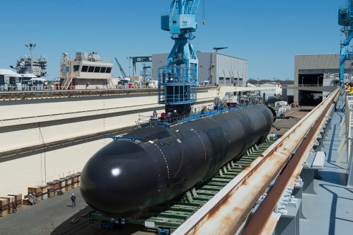 WASHINGTON SSN 787 Roll out to Floating Dry Dock. Photo by John Whalen